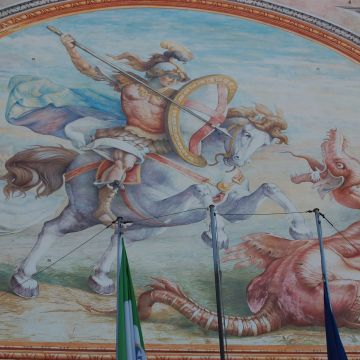 Detail of the fresco of the façade with Saint George and the dragon