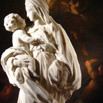 scuola genovese - statua bifronte con Madonna e Sant'Antonio da Padova con Bambi
